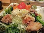鶏竜田揚げとポテトの ねぎソースたっぷり野菜の定食